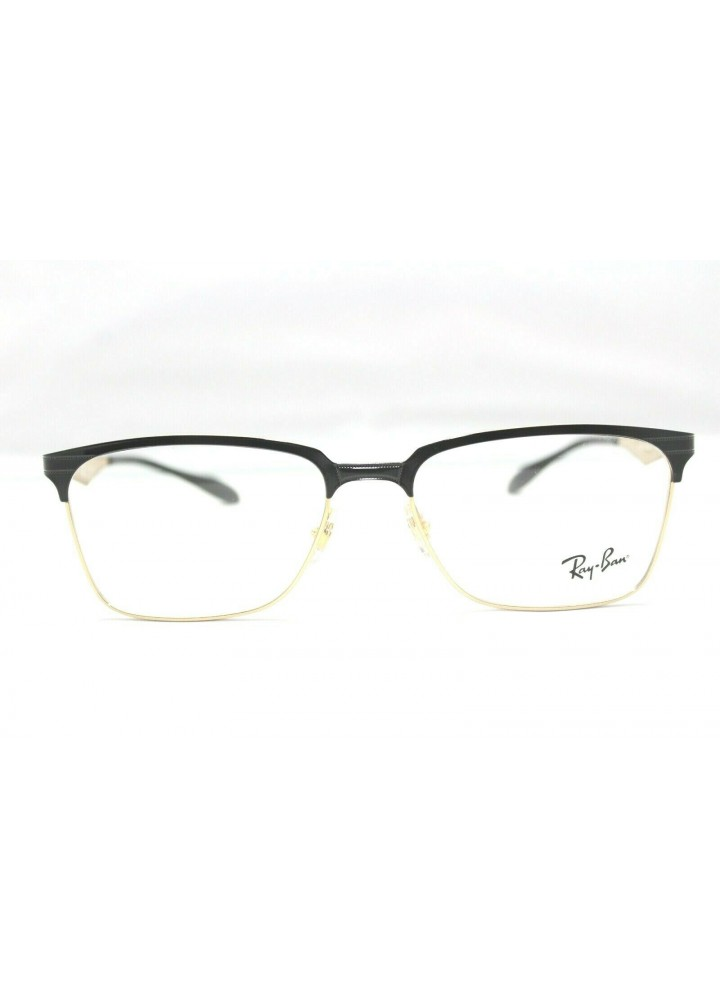 Ray-Ban RX6344 2890 Square Clubmaster Eyeglasses - Black / Gold