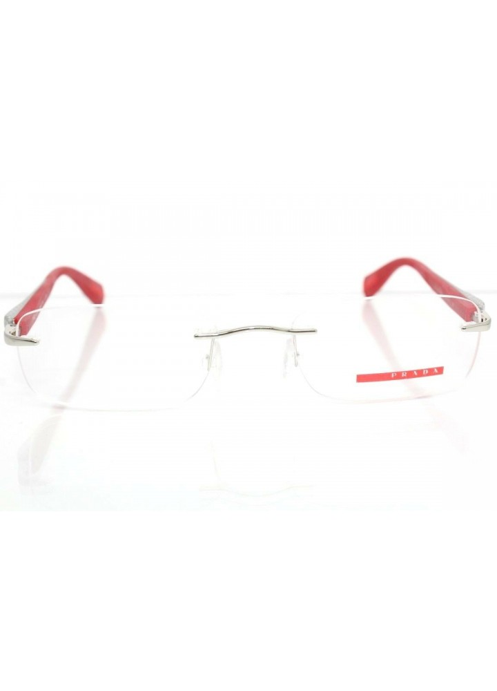 Prada VPS 53D 1BC-1O1 - Rimless  Silver / Red